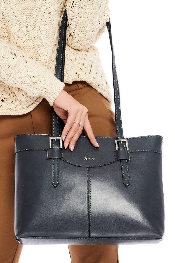 Kožená dámska kabelka cez rameno tmavo sivá