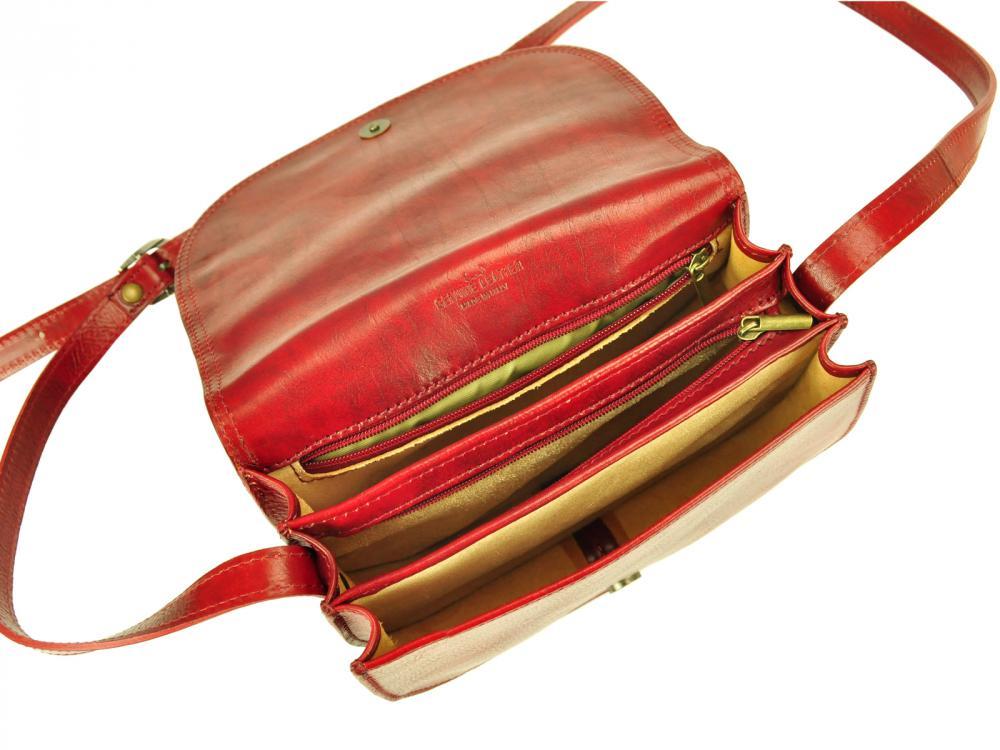 Kožená crossbody dámska kabelka Enila I Fratelli burgundská červená