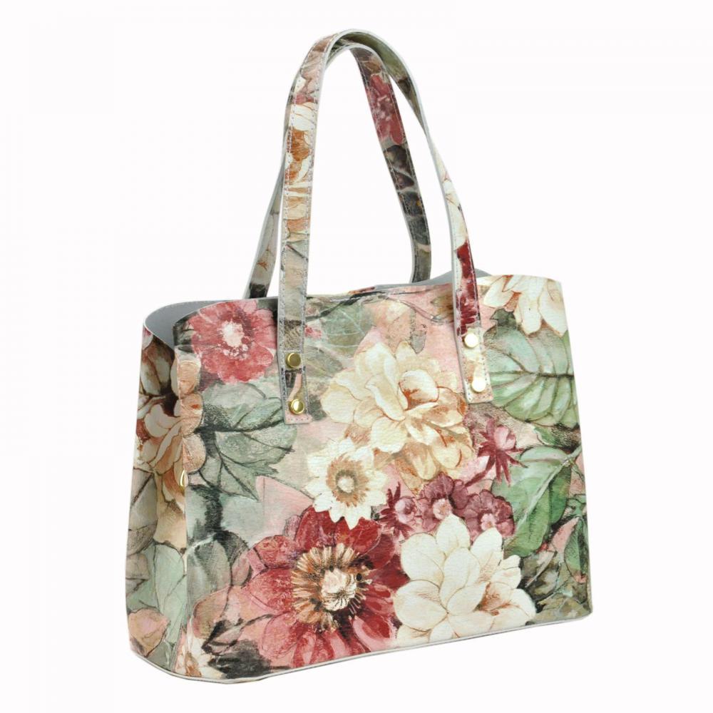 Kožená farebná dámska kabelka do ruky v motíve kvetov Florencia