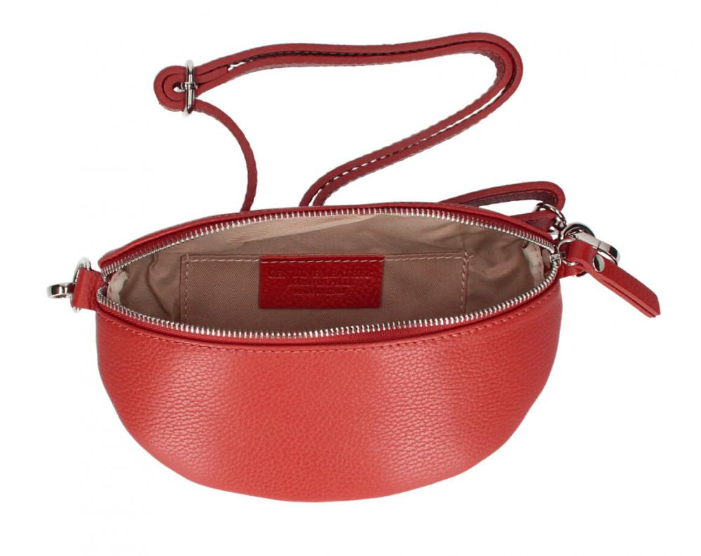 Kožená dámská ledvinka s upravitelným popruhem Jean červená
