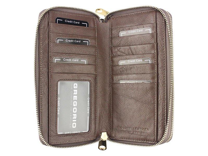 Gregorio luxusní velká modrá dámská kožená peněženka v dárkové krabičce