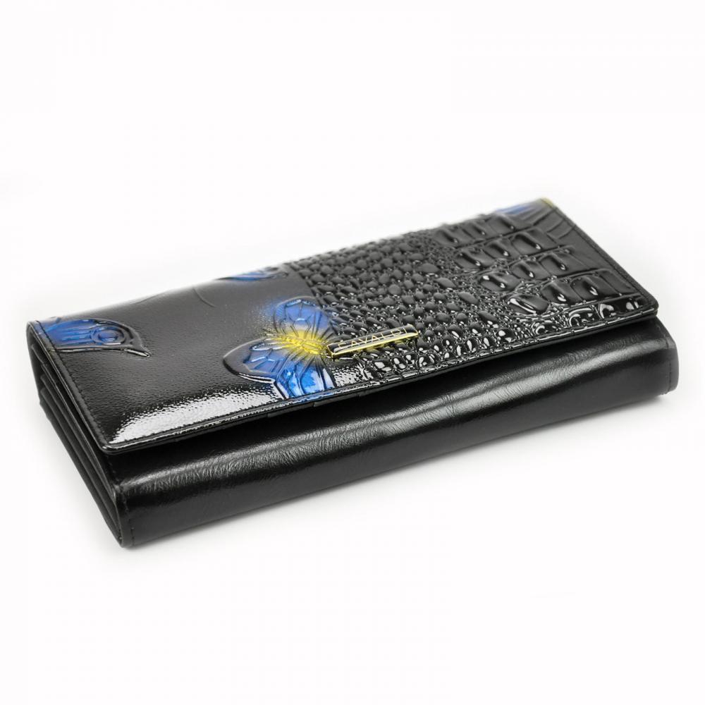 Cavaldi modrá dámská lakovaná peněženka kůže/PU s motýly v dárkové krabičce