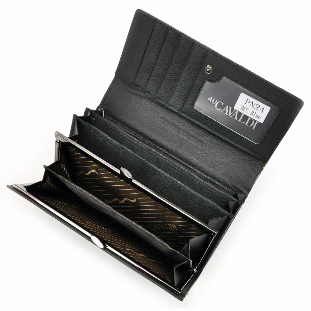Cavaldi modrá dámska lakovaná peňaženka koža / PU s motýľmi v darčekovej krabičke