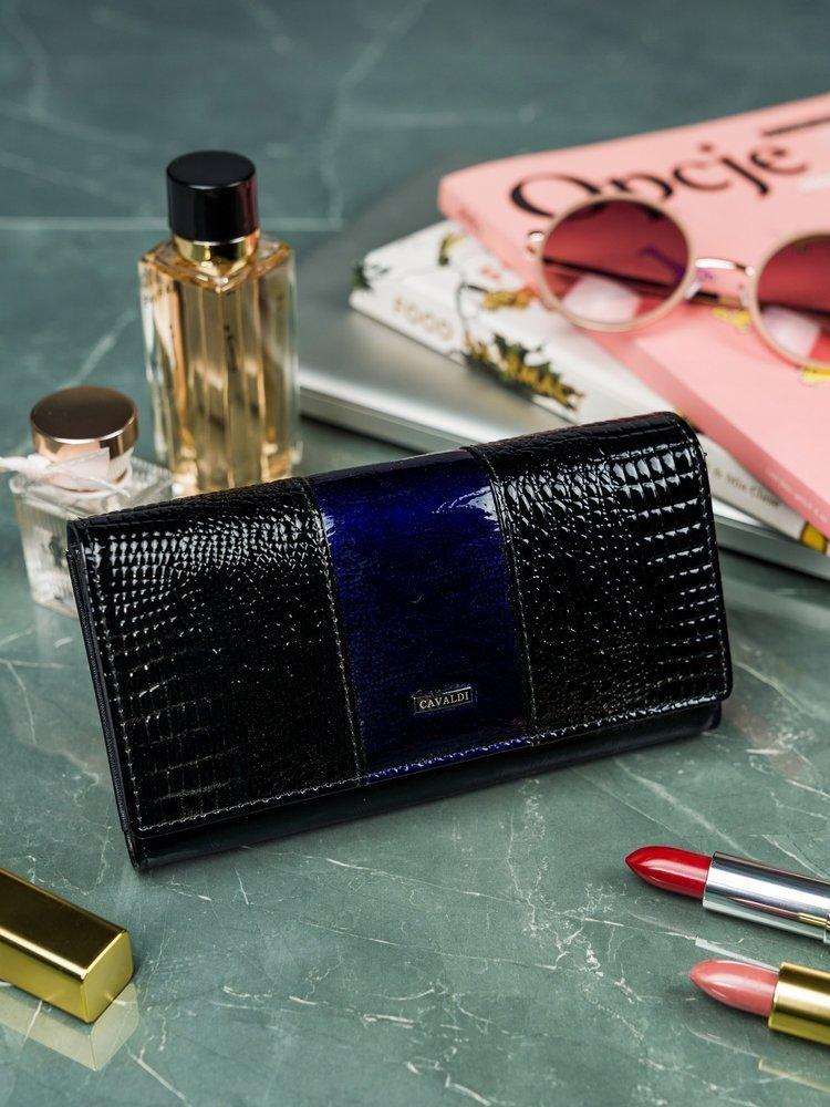 Cavaldi čierno-modrá dámska kroko peňaženka koža / PU v darčekovej krabičke