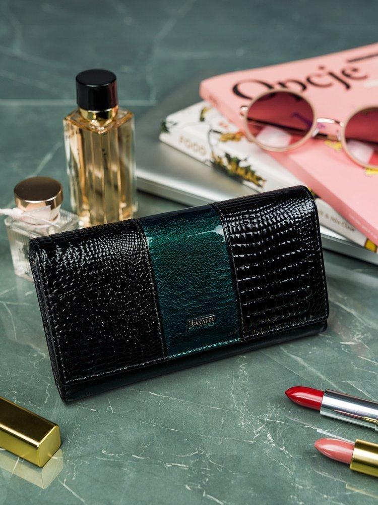 Cavaldi čierno-zelená dámska kroko peňaženka koža / PU v darčekovej krabičke