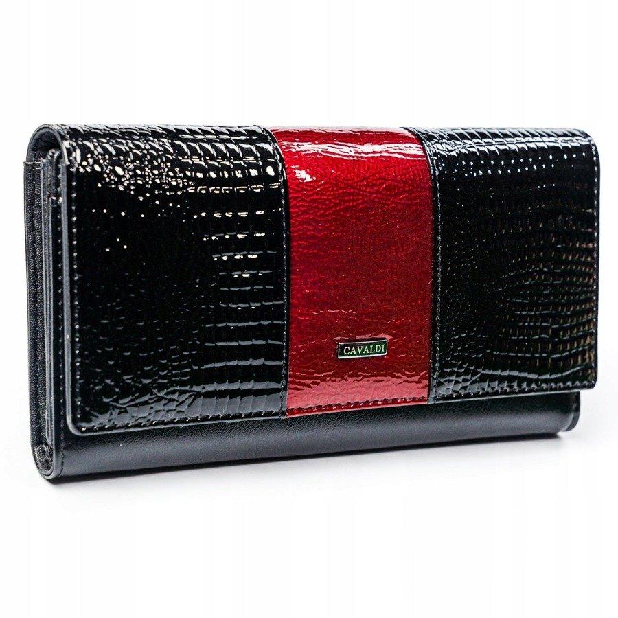 Cavaldi černo-červená dámská kroko peněženka kůže/PU v dárkové krabičce