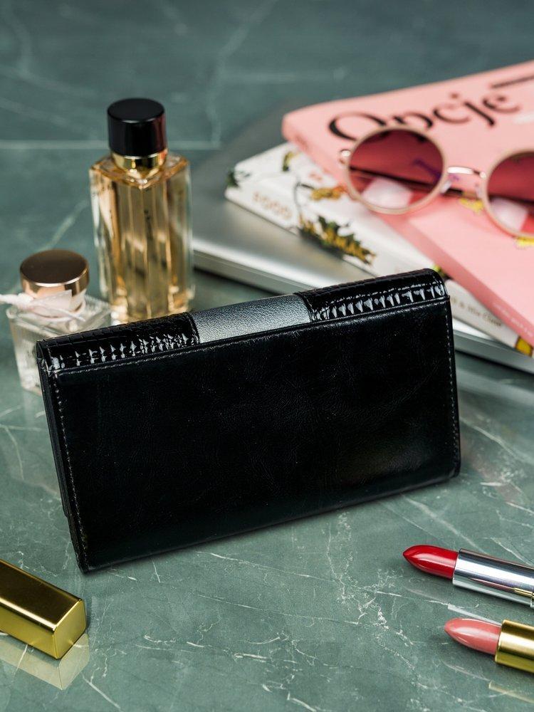 Cavaldi čierno-šedá dámska kroko peňaženka koža / PU v darčekovej krabičke