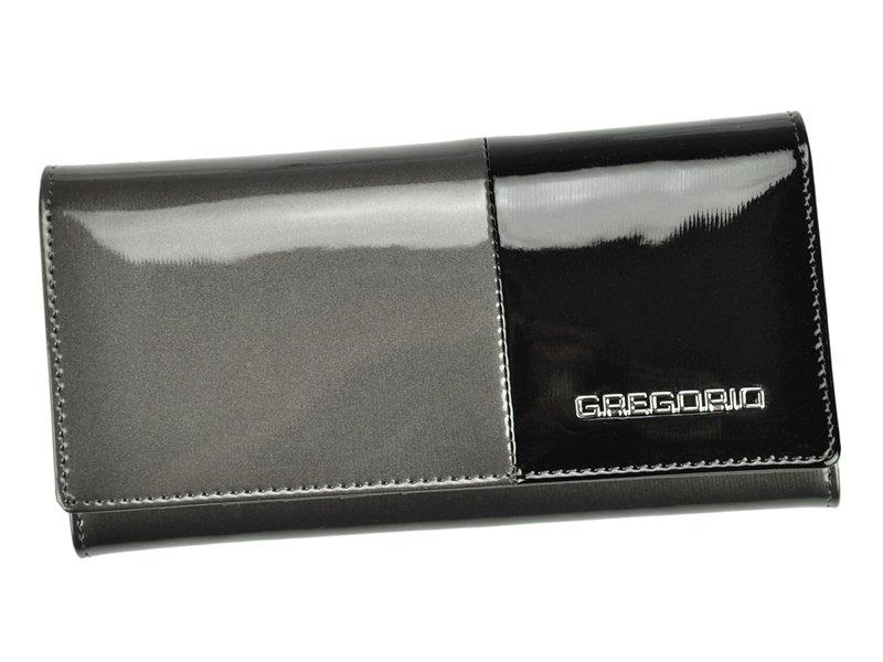 Gregorio Kožená šedo-černá dámská peněženka v dárkové krabičce