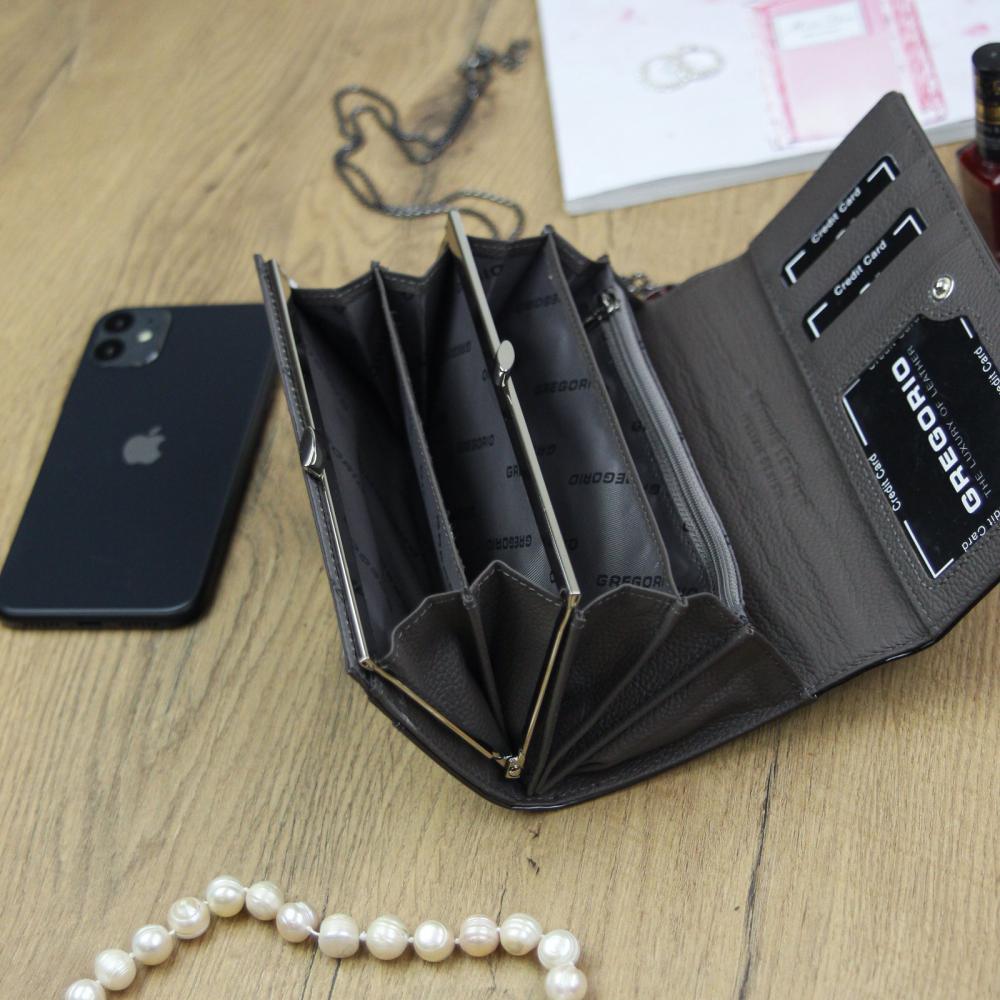 Gregorio Kožená šedo-čierna dámska peňaženka v darčekovej krabičke