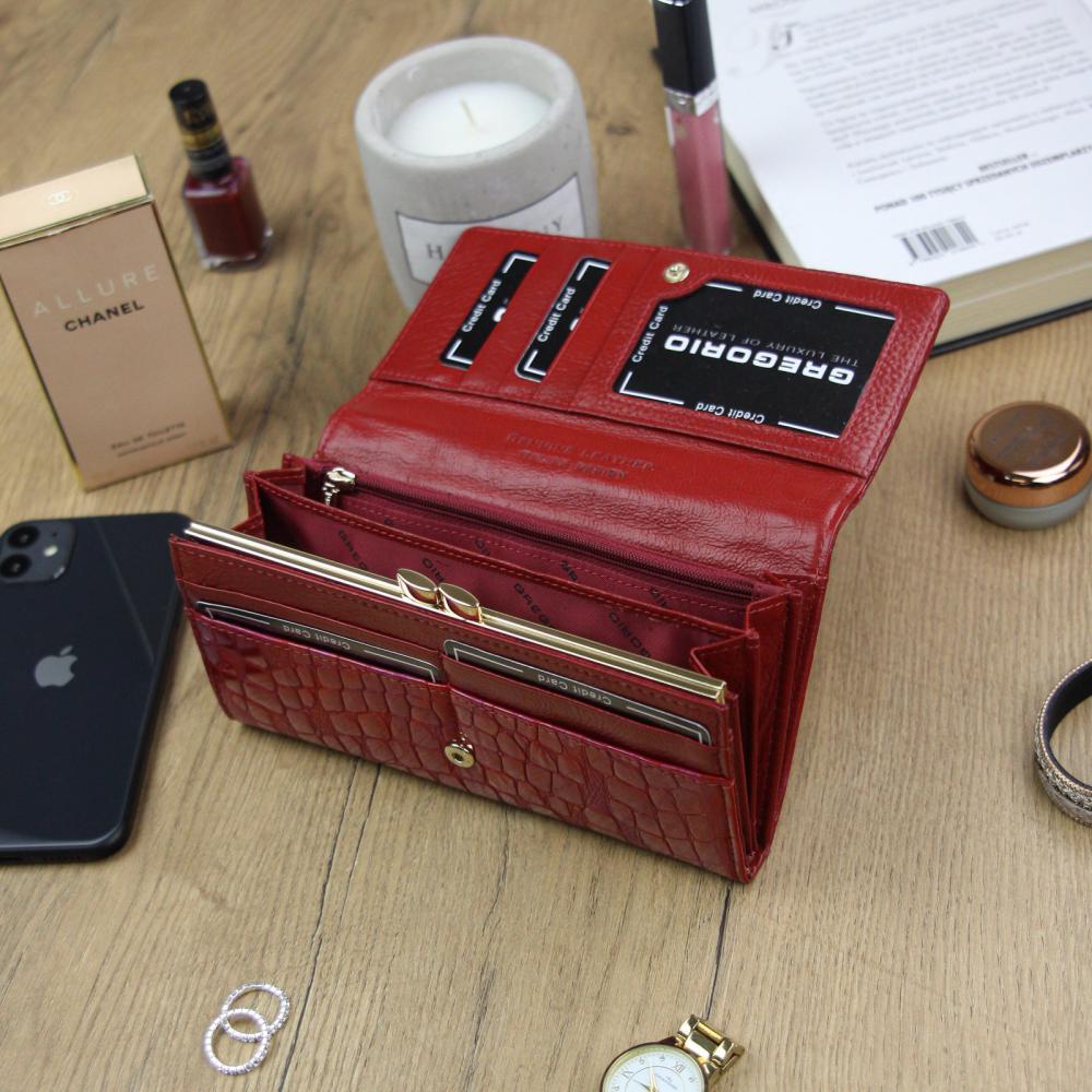 Gregorio Kožená červená dámská peněženka dárkové krabičce