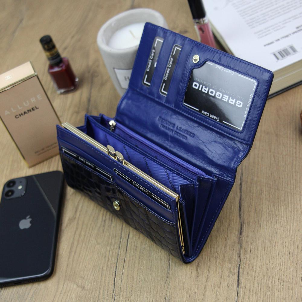 Gregorio Kožená modrá dámska peňaženka v darčekovej krabičke