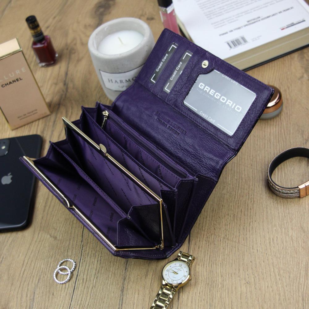 Gregorio Kožená fialová dámská peněženka dárkové krabičce