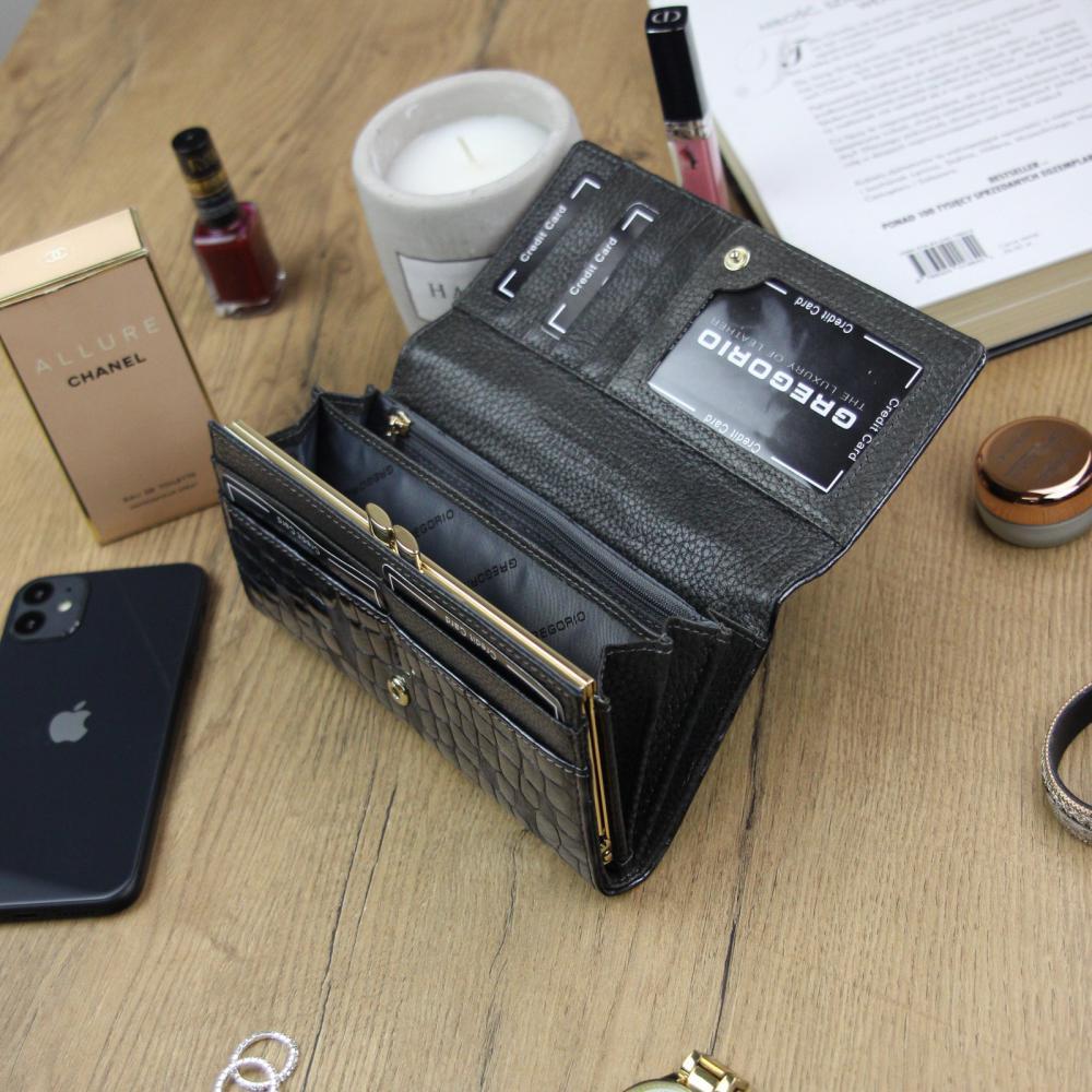 Gregorio Kožená šedá dámská peněženka dárkové krabičce