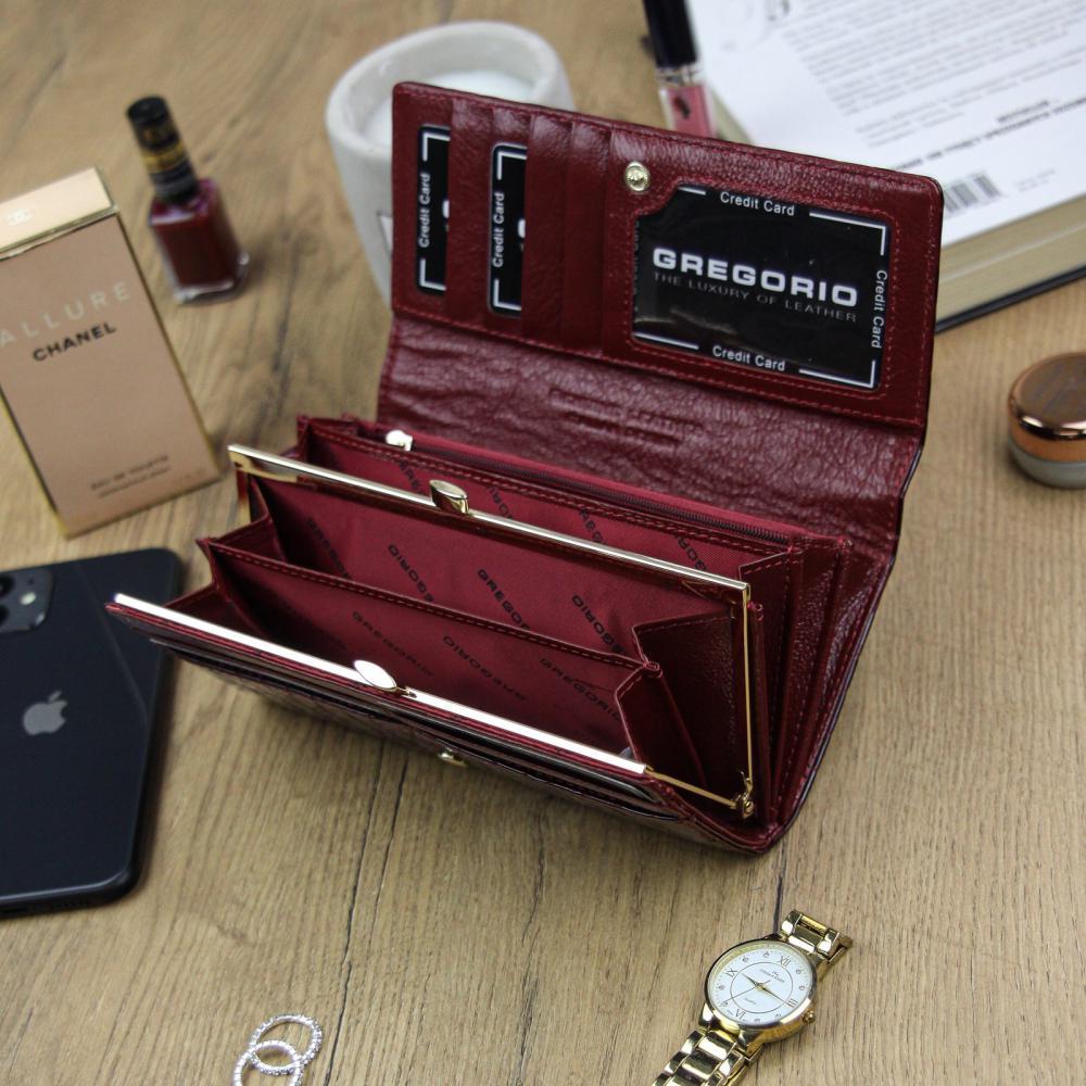 Gregorio Kožená tmavě červená dámská peněženka dárkové krabičce