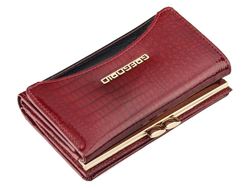 Gregorio červená střední dámská kožená peněženka RFID v dárkové krabičce