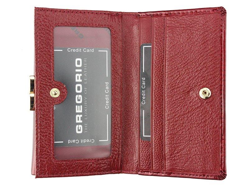 Gregorio červená stredná dámska kožená peňaženka RFID v darčekovej krabičke