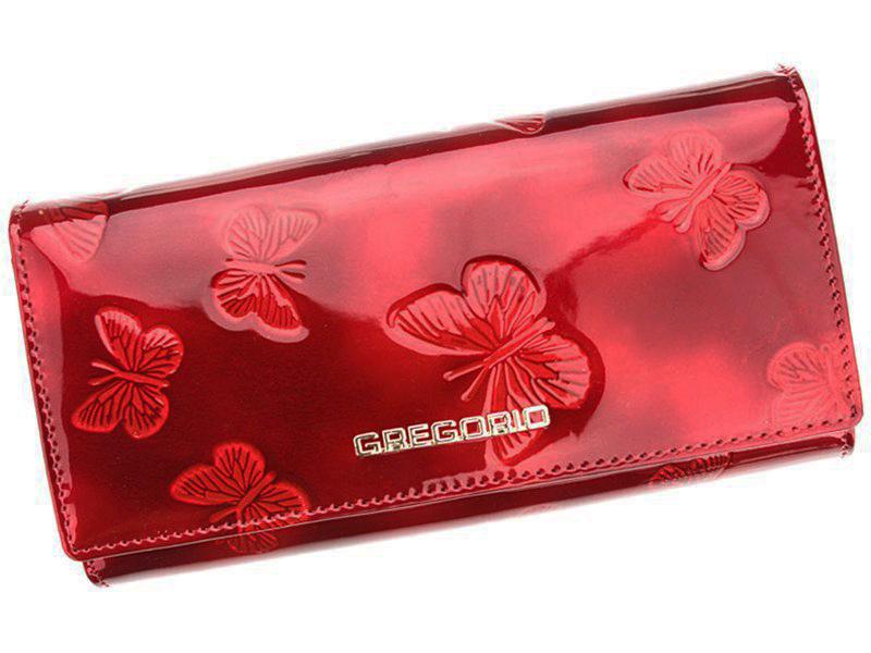 Gregorio Kožená červená dámska peňaženka s motýľmi v darčekovej krabičke