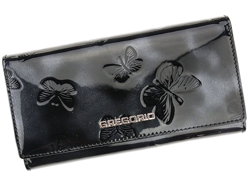 Gregorio Kožená čierna dámska peňaženka s motýľmi v darčekovej krabičke