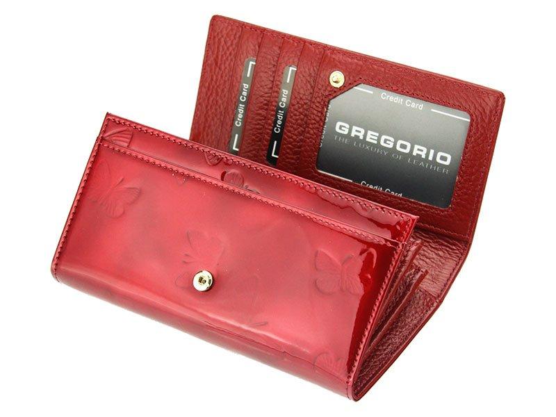 Gregorio Kožená červená dámská peněženka s motýly v dárkové krabičce