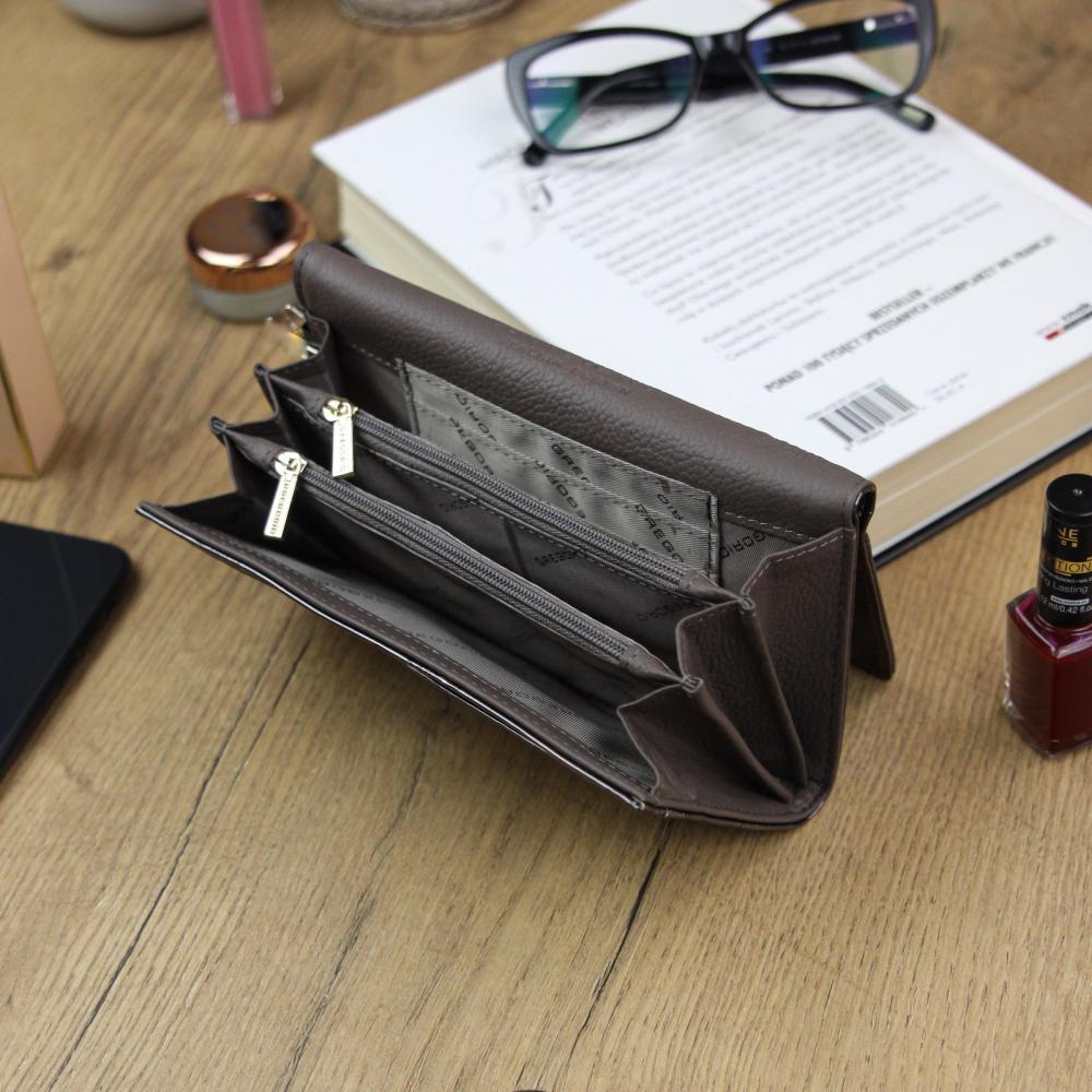 Gregorio Kožená šedá dámská peněženka s motýly v dárkové krabičce