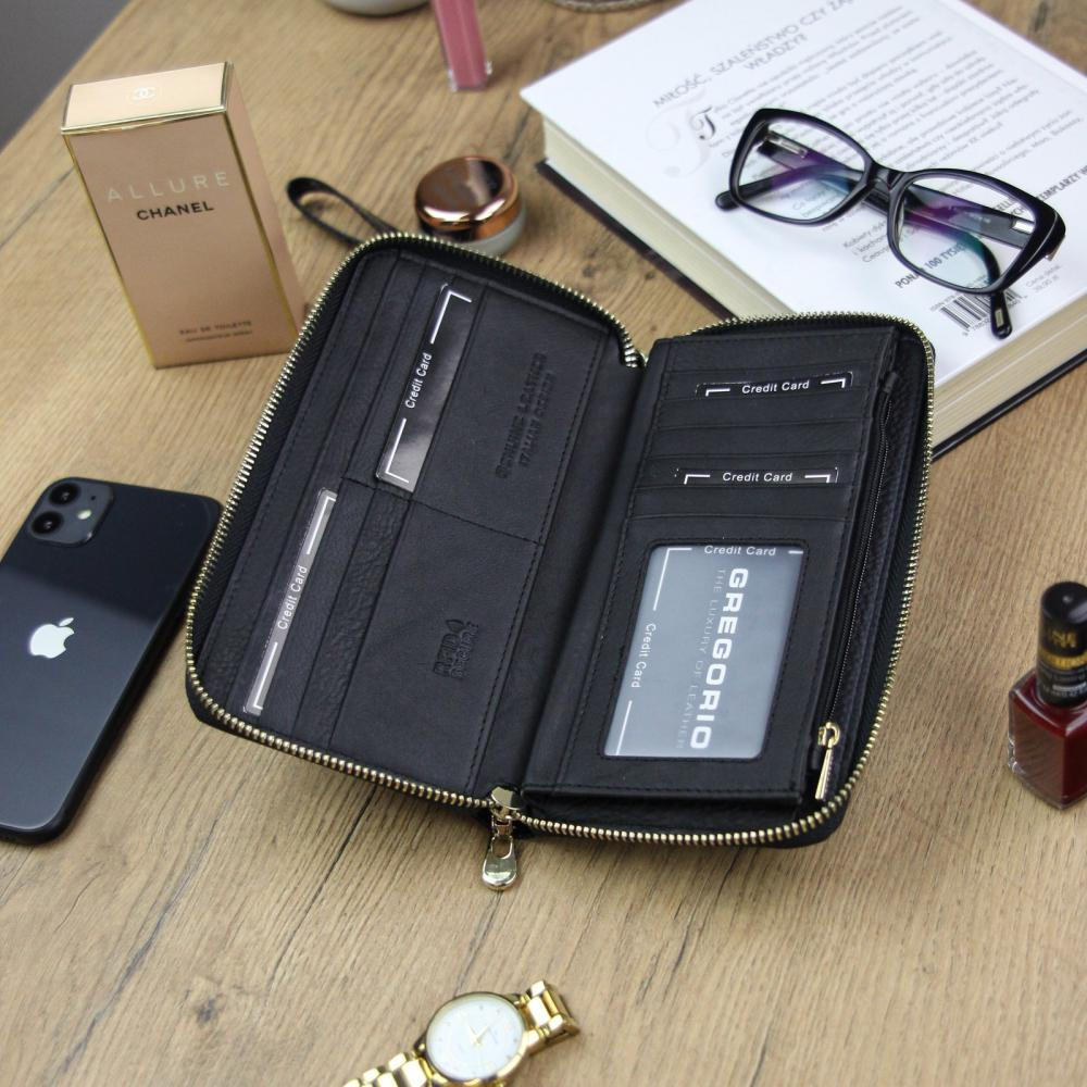 Gregorio luxusní černá dámská kožená peněženka v dárkové krabičce
