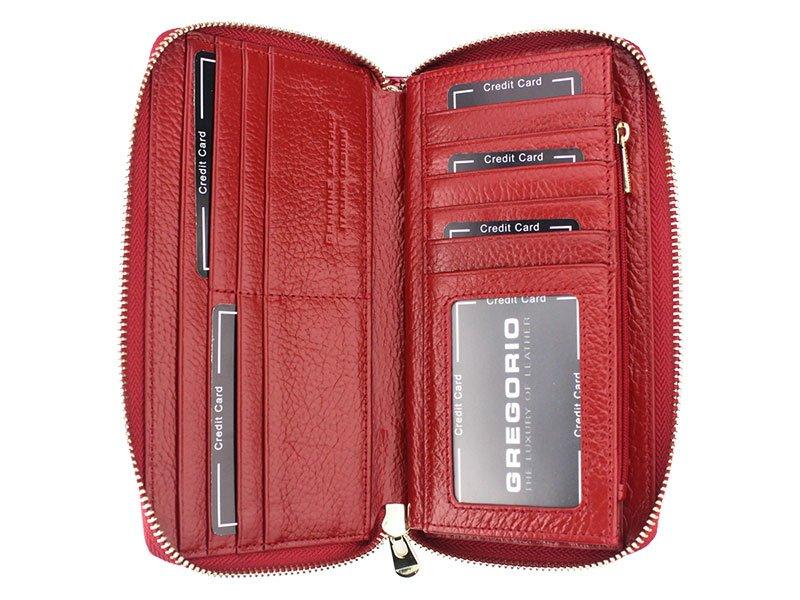 Gregorio luxusní červená dámská kožená peněženka v dárkové krabičce