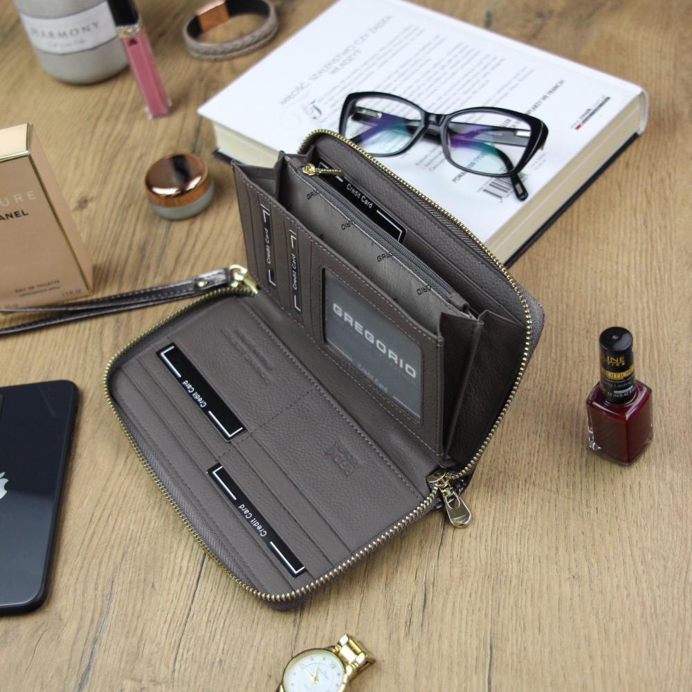 Gregorio luxusní šedá dámská kožená peněženka v dárkové krabičce