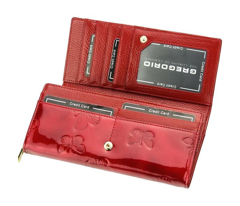 Gregorio Kožená černá dámská peněženka s motýly v dárkové krabičce