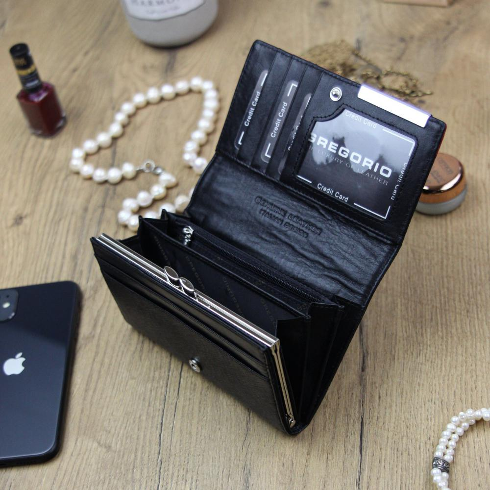 Gregorio Kožená čierno-červená dámska peňaženka v darčekovej krabičke