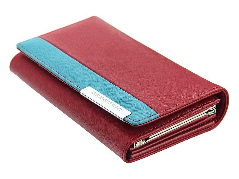 Gregorio Kožená červeno-modrá dámská peněženka v dárkové krabičce
