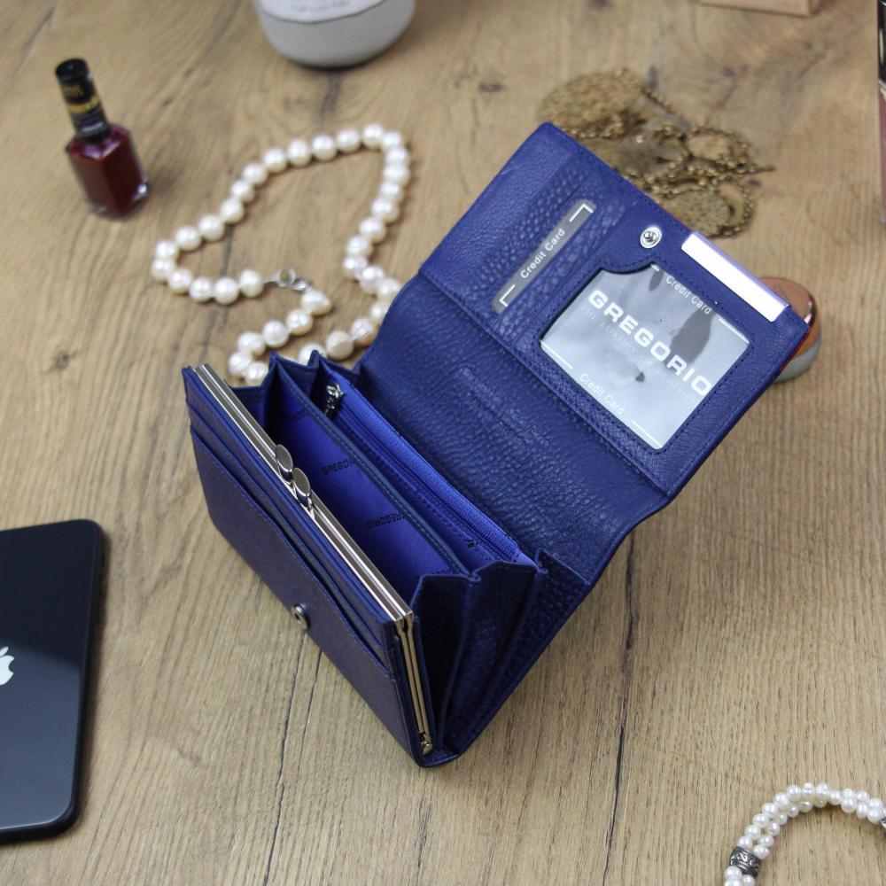 Gregorio Kožená modro-červená dámská peněženka v dárkové krabičce