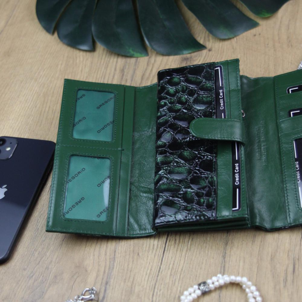 Gregorio Kožená tmavo smaragdová dámska peňaženka v darčekovej krabičke