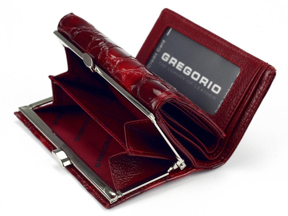 Gregorio šedá malá dámska kožená peňaženka v darčekovej krabičke