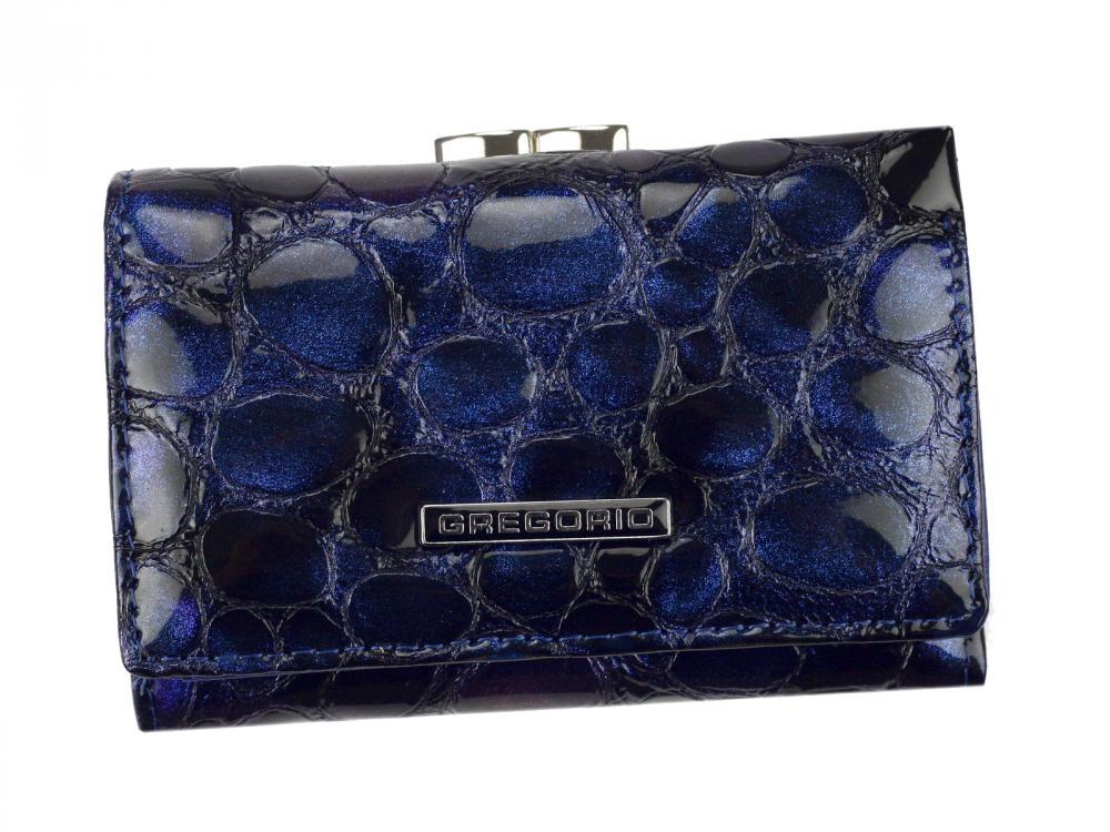 Gregorio modrá malá dámska kožená peňaženka v darčekovej krabičke