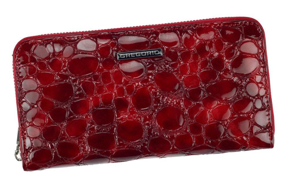 Gregorio luxusná červená dámska kožená peňaženka v darčekovej krabičke