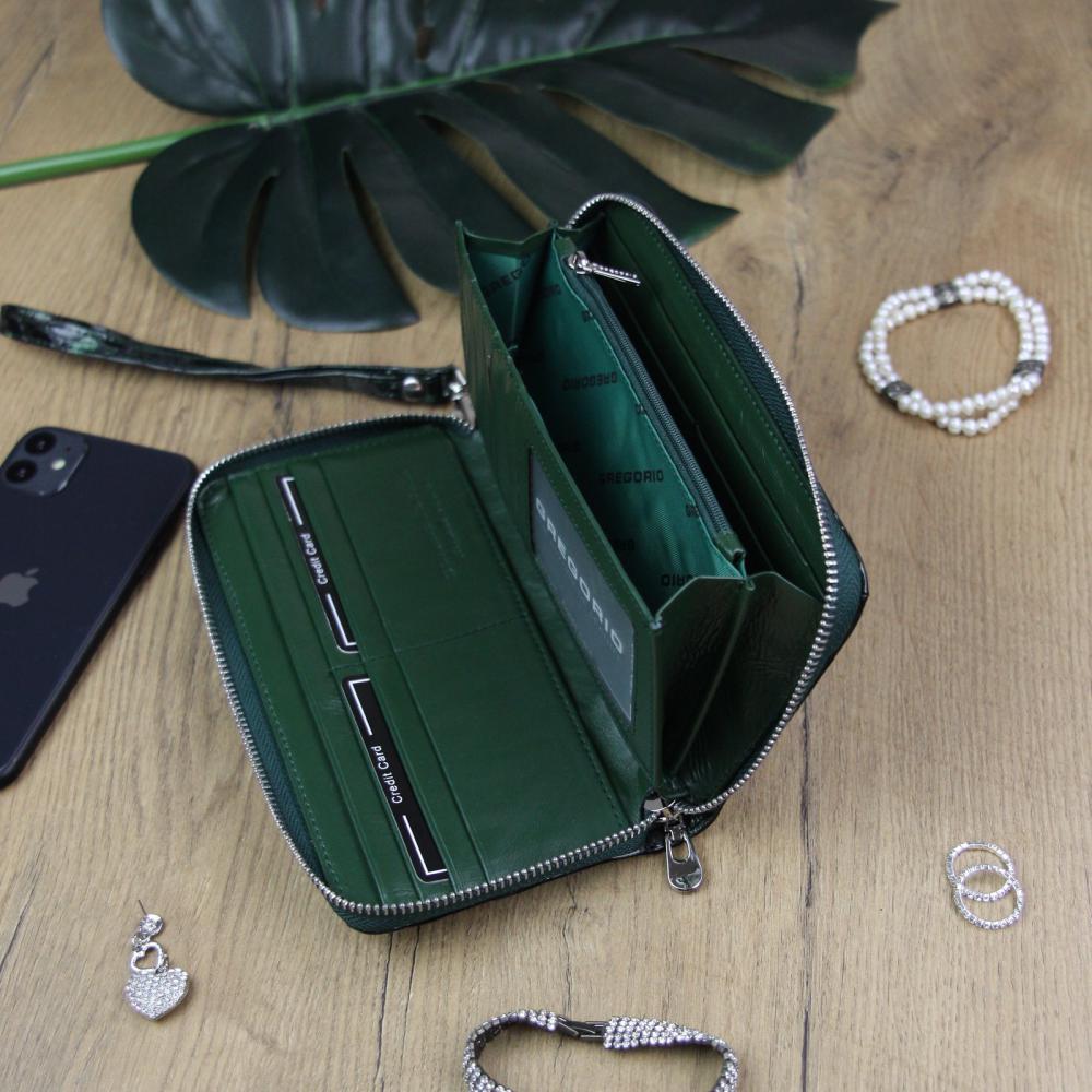 Gregorio luxusní zelená dámská kožená peněženka v dárkové krabičce