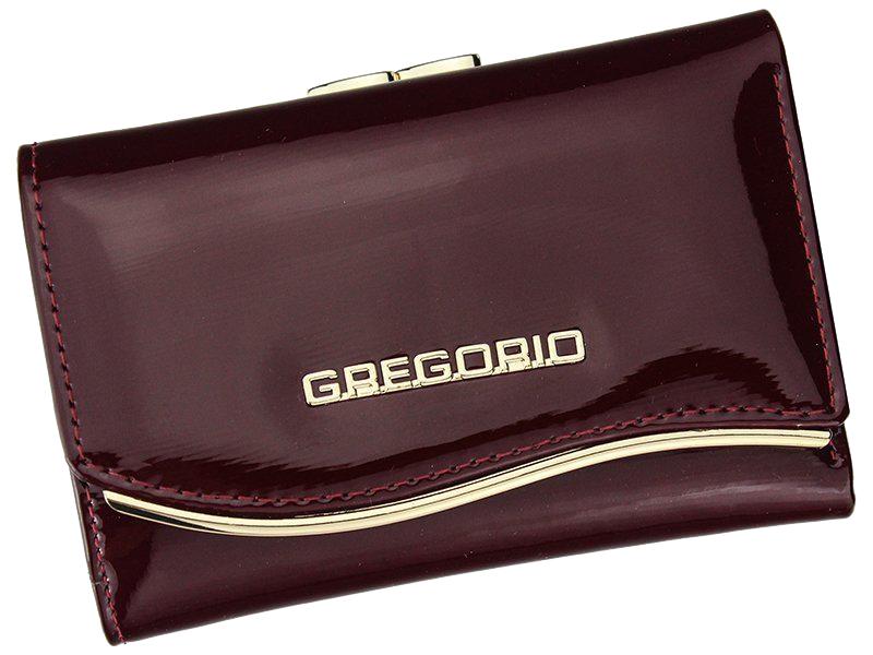 Gregorio červená lakovaná malá dámska kožená peňaženka v darčekovej krabičke ZLF-117