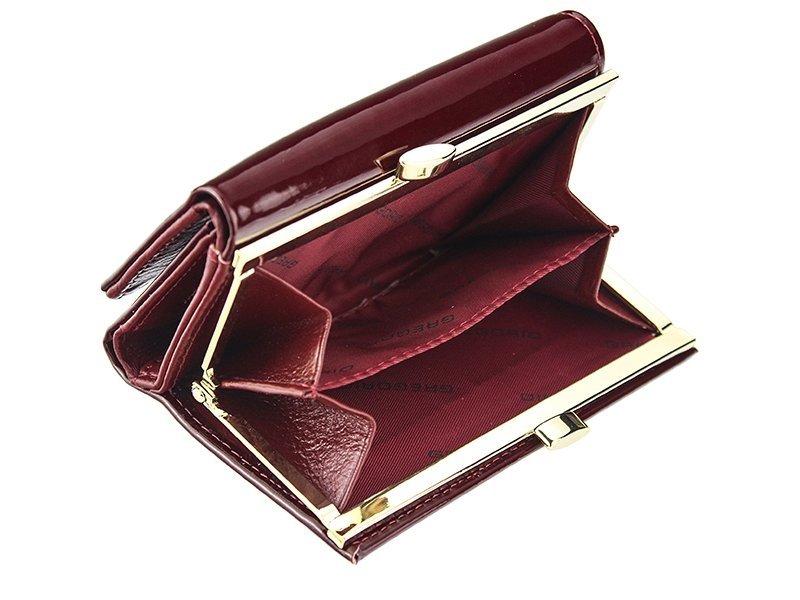 Gregorio šedá lakovaná malá dámská kožená peněženka v dárkové krabičce ZLF-117
