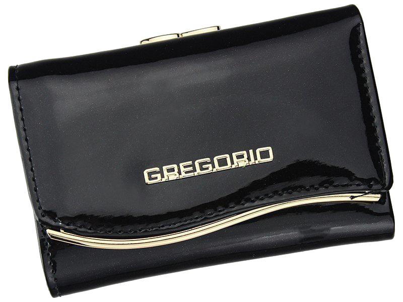 Gregorio černá lakovaná malá dámská kožená peněženka v dárkové krabičce ZLF-117