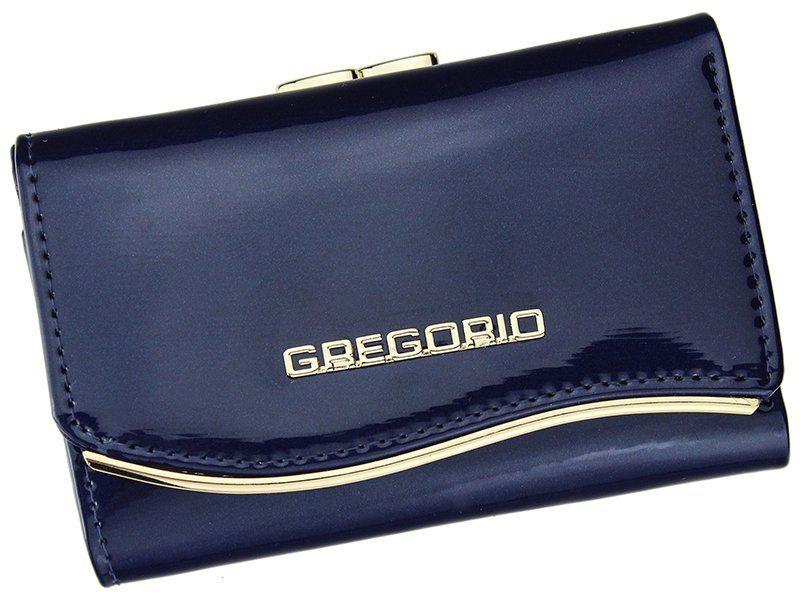 Gregorio modrá lakovaná malá dámská kožená peněženka v dárkové krabičce ZLF-117
