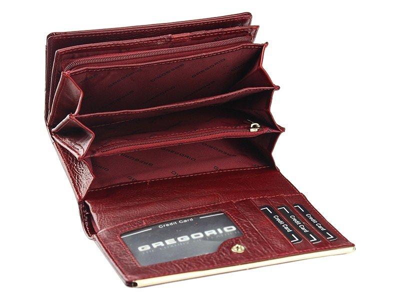 Gregorio zelená lakovaná dámska kožená peňaženka v darčekovej krabičke