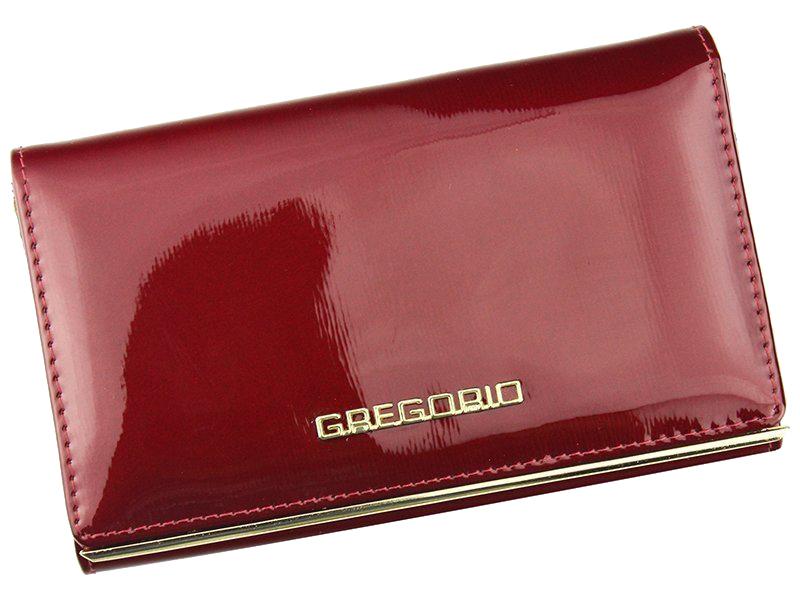 Gregorio lakovaná dámská kožená peněženka v dárkové krabičce - červená
