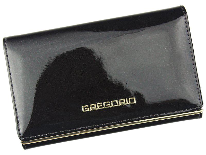 Gregorio tmavě hnědá lakovaná dámská kožená peněženka v dárkové krabičce