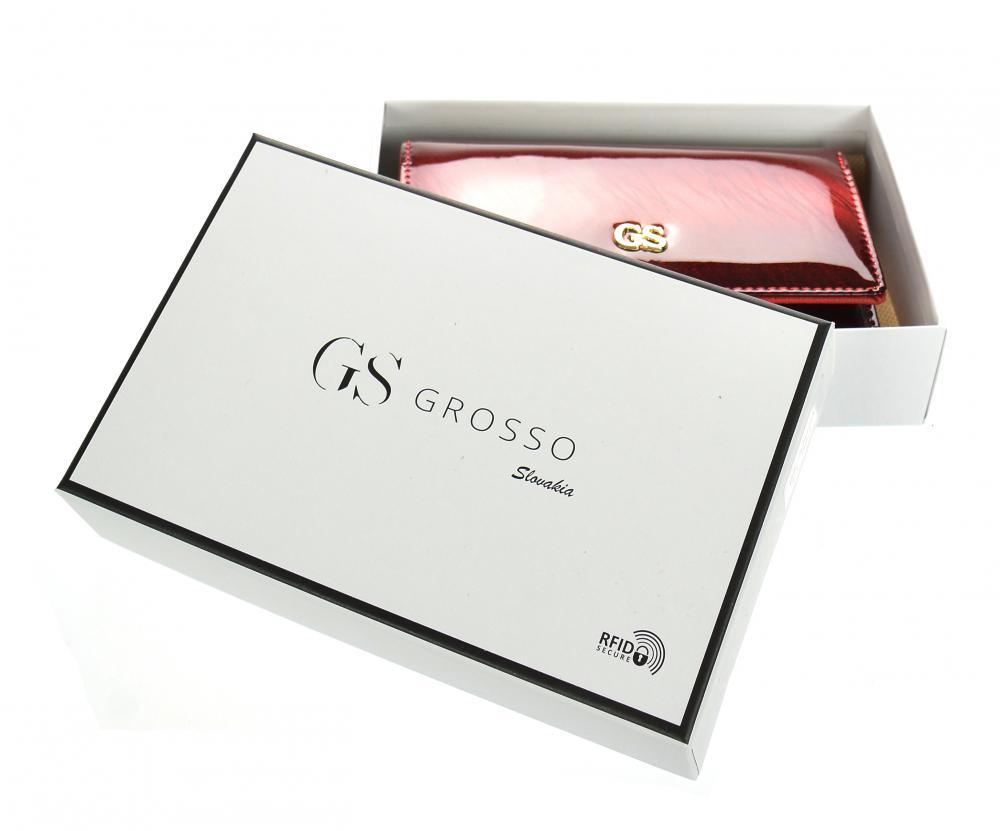GROSSO Kožená menší dámská peněženka RFID červená v dárkové krabičce