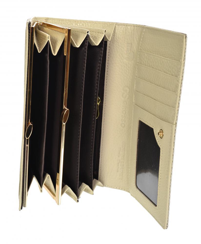 GROSSO Kožená dámská lakovaná peněženka RFID béžová v dárkové krabičce