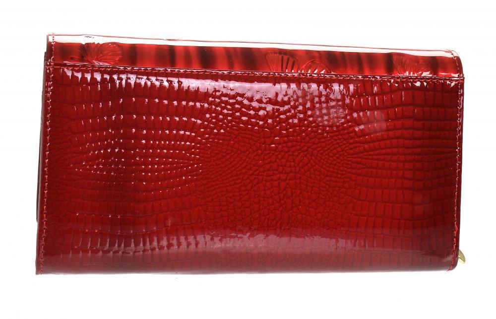 GROSSO Kožená dámská peněženka v motivu motýlů RFID červená v dárkové krabičce
