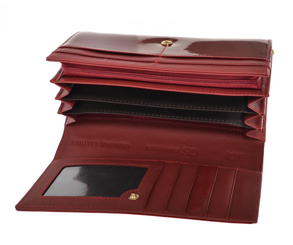 GROSSO Kožená dámská lakovaná peněženka RFID červená v dárkové krabičce