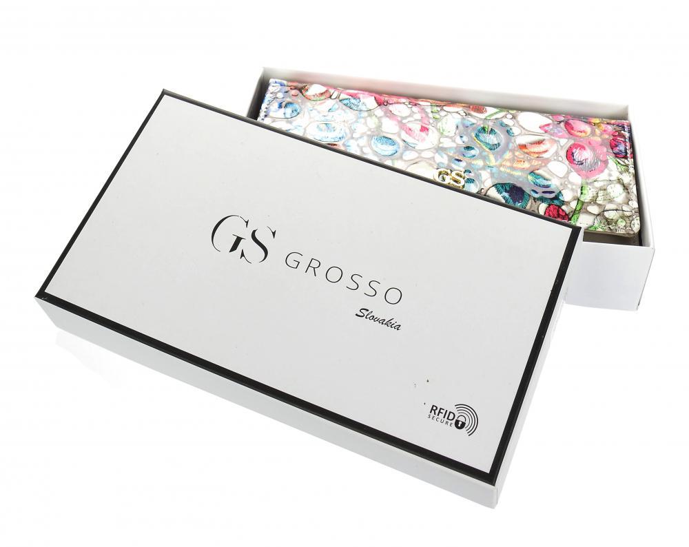 GROSSO Kožená dámská peněženka v barevném motivu RFID šedá v dárkové krabičce
