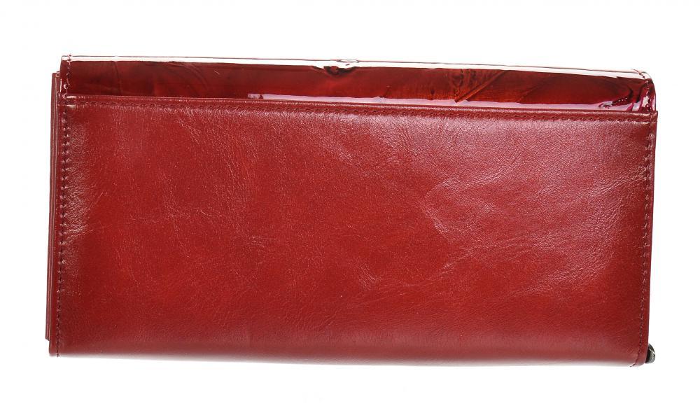 GROSSO Kožená dámská peněženka v motivu ptačích pírek RFID červená v dárkové krabičce