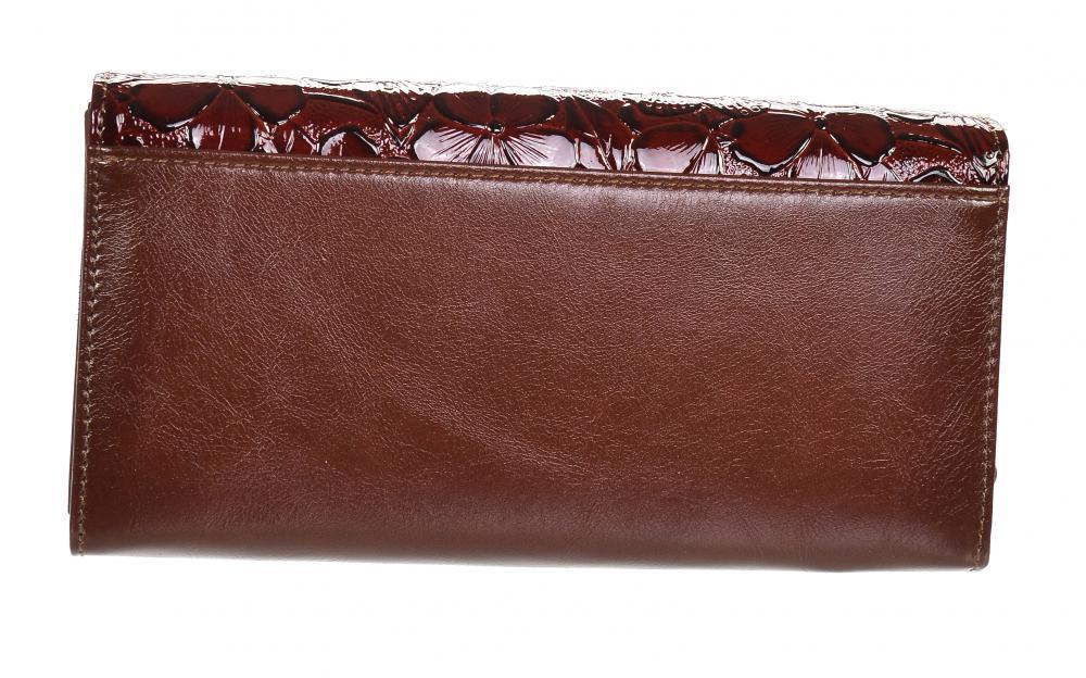 GROSSO Kožená dámská peněženka v květovaném motivu RFID hnědá v dárkové krabičce